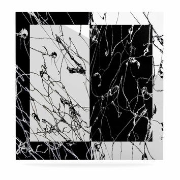"Nina May ""Neutra Splatter"" Black White Mixed Media Luxe Square Panel"