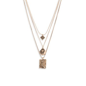 Triple Assorted Coin Charm Necklace