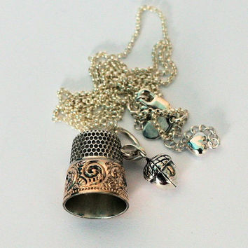 Peter Pan Thimble Antique Sterling Silver Thimlbe With Gold Washed Band Thimble and Acorn Kisses Necklace Peter Pan and Wendy