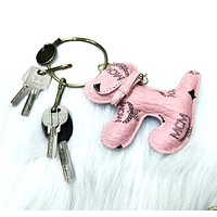 MCM Fashion New Letter Print Dog Men Women Convenience Key Chain Pink