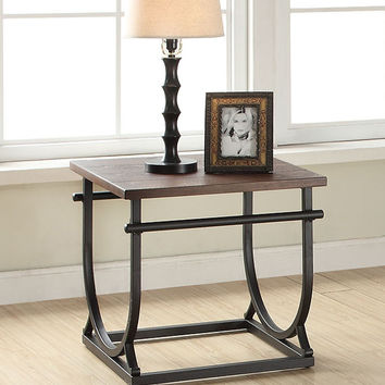 Debbie collection cherry finish wood top and black metal frame end table