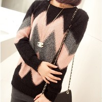 Geometric Wave Hit Color Sweater JCHBF
