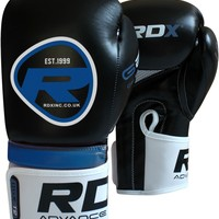 RDX Rex Leather Boxing Gloves Black Blue