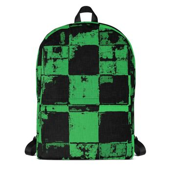 Stylish all-over-print unisex backpack - Worn out look green tiles pattern