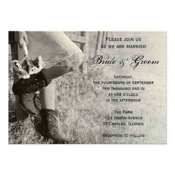 Cowgirl and Sunflowers Country Wedding Invitation from Zazzle.com