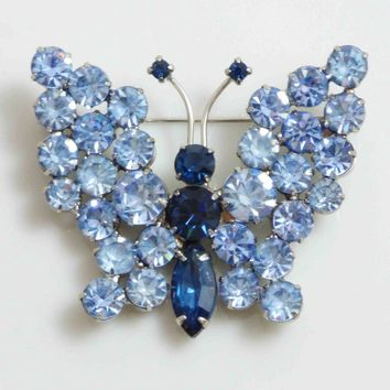 Butterfly Brooch Blue Rhinestones, figural pin, juliana style