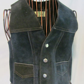 60s Bohemian Hippie Child 60s Suede Leather Fur Lined Vest Woodstock 60s Flashback