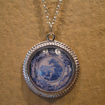 "Large Blue and White Boat Pattern Porcelain Plate Domed Cabochon Silver Finish Pendant with 20"" Snake Chain or 24"" Oval Link Chain"