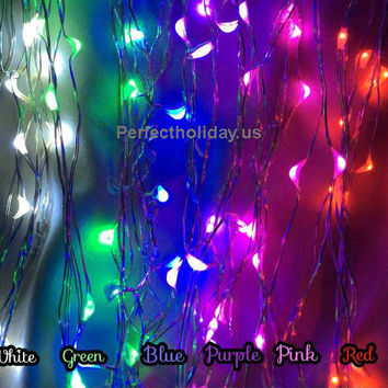 """New 78"""" Micro 20 LED Warm White Color Lights Battery Operated Copper Silver Color Ultra Thin String Wire - Christmas Wedding Centerpiece"""