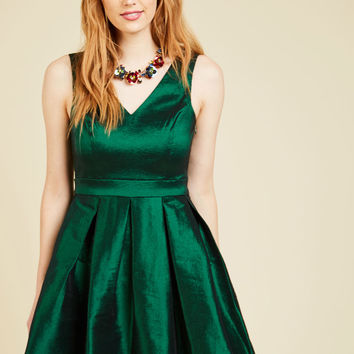My Gift to You Fit and Flare Dress in Emerald | Mod Retro Vintage Dresses | ModCloth.com