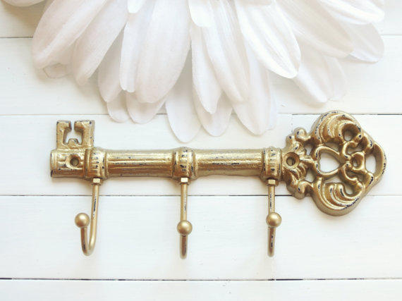 gold decor cast iron key hook iron from willowsgrace. Black Bedroom Furniture Sets. Home Design Ideas