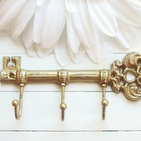 Gold Decor / Cast Iron Key Hook / Iron Key / Skeleton Key / Wall Key Holder / Key Rack / Decorative Key Hook / Shabby Chic Wall Hook /
