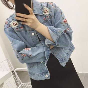 ESB2N GUCCI Embroidered flowers Denim blue Cardigan Jacket Tagre-