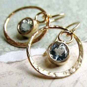 Aquamarine and Little Gold Hoop Earrings - 14k Gold Hammered Metal, Gemstone