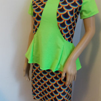 MERMAID costume top and skirt neon green and multicolor fish scales glow in the dark sale