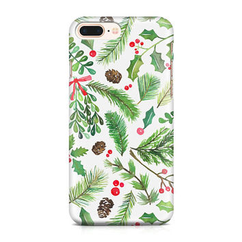 Christmas Greenery Phone Case, Mistletoe, iPhone Case, Evergreen Pattern, Holly Phone Case, iPhone 8, Samsung Galaxy S8, iPhone X