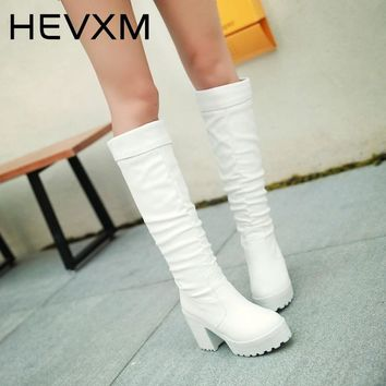 HEVXM New Arrivals Fashion Knee-High Women Boots Women'S Thick High Heel Platform Boots Spring Autumn Western Boots Shoes Woman