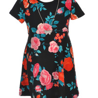 """George A Ltd Little Girls' """"Rose Society"""" Skater Dress with Necklace (Sizes 4 – 6X)"""