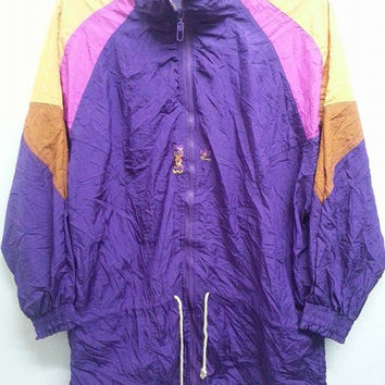 Vintage 1990s Puma Neon Colourfull Windbreaker Sweater Disco Hip Hop Summer Parka Jacket