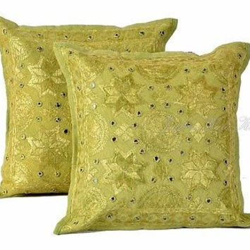 "Indian Light Green 16"" Set of 2 PC Cushion Cover Embroidered Cotton Decor Art"
