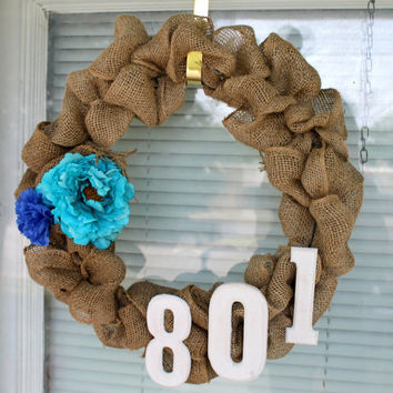 Burlap Wreath, 16in diameter with flower (house number free)- MADE TO ORDER