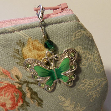 Green Enameled Butterfly Zipper pull Purse Pull Hoodie Pull Jacket Pull   V4677