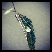 Peacock Feather Cluster Necklace by MakaylaAnnDesigns on Etsy