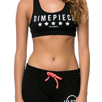 The Dimepiece Sports Bra Top in Black