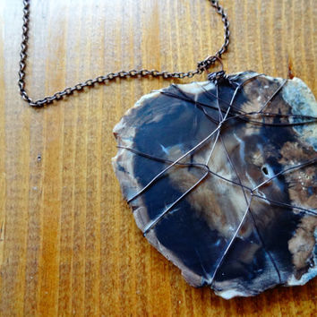 Large Petrified Wood Pendant Statement Necklace