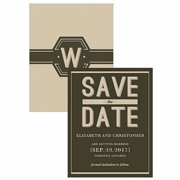 Bistro Bliss Save The Date Card Charcoal Background With White Text (Pack of 1)