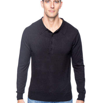 Classic Knit Long Sleeve Polo Sweater - Black