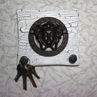 wooden wall plaque medusa versace head gorgona medusa on old white shabby rustic shield for key holder home key hook