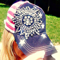 Stars and Stripes Shine Bright American Flag Bling Hat