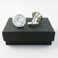 Wedding Cufflinks, Personalized Mens Cufflinks, Custom Initial Cufflinks, Special Gift for Fathers, Groom, Husbands