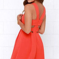 Refined and Dandy Coral Red Sleeveless Dress