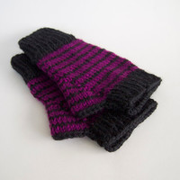 knit striped fingerless mittens-- the condyle vegan wristwarmers in purple and black
