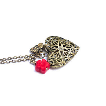 Heart Locket Necklace. Red Flower, Bee Charm. Antique Brass. Filigree Heart Photo Locket Pendant. Picture Locket