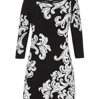 White House | Black Market 3/4 Sleeve Scroll Jacquard Tunic Pullover