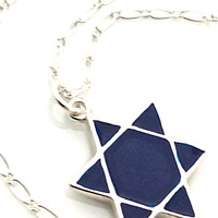 Star of David Necklace, Shield of David, Magen David, Cobalt Jewelry, Judaism, Jewish Necklace, Blue, Hexagram, Judaica, Sterling Silver