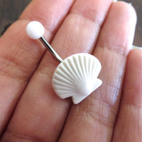 White Sea Shell Seashell Belly Button Ring, Navel Piercing Bar Barbell Jewelry