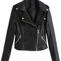 ROMWE | Zippered PU Sheer Black Jacket, The Latest Street Fashion