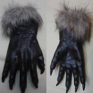 1 pair New Halloween Mask Latex Plush Animal Gloves Wolves Horror Halloween Props Cosplay Costumes