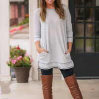 Elbow Patch Sweatshirt Tunic - Light Grey