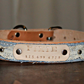 Custom/ Personalized Dog Collar/ Boho/ Leather/ Lace/ Denim/ with Leather Name Plate/ silver spots