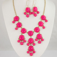 New 20mm Hot Pink  Bubble jewelry set,Bubble Necklace,Bubble Earrings,Bib Jewelry Set,Statement Necklace-BN0053