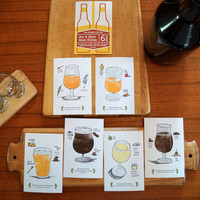 6-Pack of California Craft Beer Illustration Post Cards