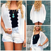 Misty Lake White Sheer Daisy Cardigan