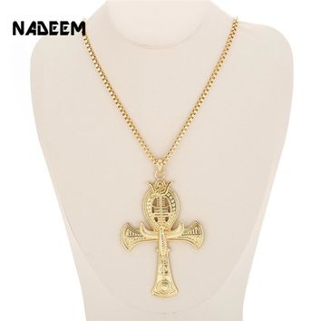 Ancient Ankh Cross Of Horus Egyptian Jewelry Male Eagle & Snake Design Pendant Necklace Gold-Color
