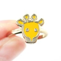 Simple Giraffe Shaped Animal Adjustable Ring in Yellow | DOTOLY