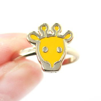 Simple Giraffe Shaped Animal Adjustable Ring in Yellow   DOTOLY